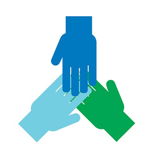 Yhteistyötä kuvaava ikoni, jossa on kolme kättä päällekkäin.