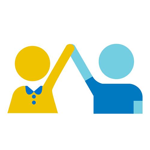Kahta kädet yhteen lyövää lasta kuvaava ikoni.