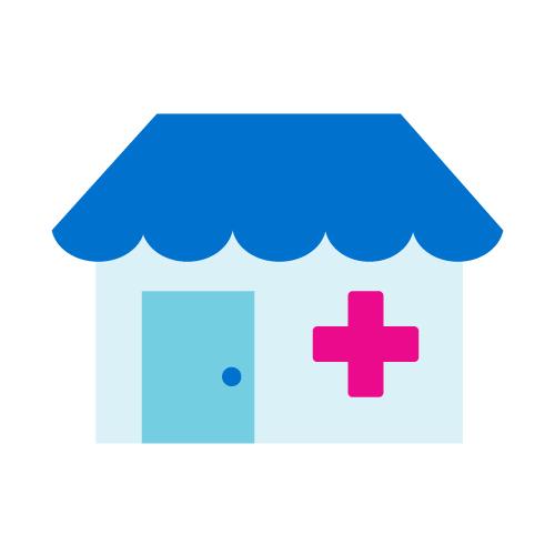 Terveysklinikkaa kuvaava ikoni.