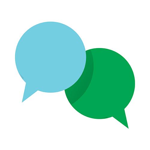 Keskustelua kuvaava ikoni, jossa on kaksi puhekuplaa.