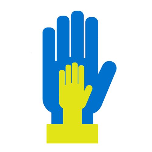 Kahta erikokoista kättä kuvaava ikoni.
