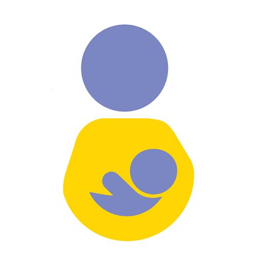 Vanhemmuutta kuvaava ikoni, jossa hahmo pitää lasta sylissään.