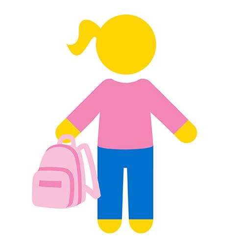 Koulutyttöä kuvaava ikoni.