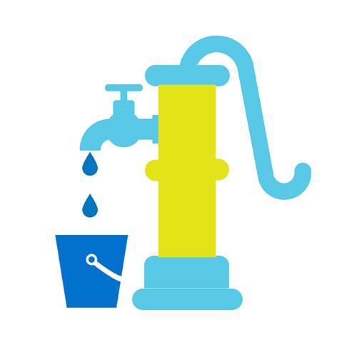 Vesipumppua tai kaivoa kuvaava ikoni.