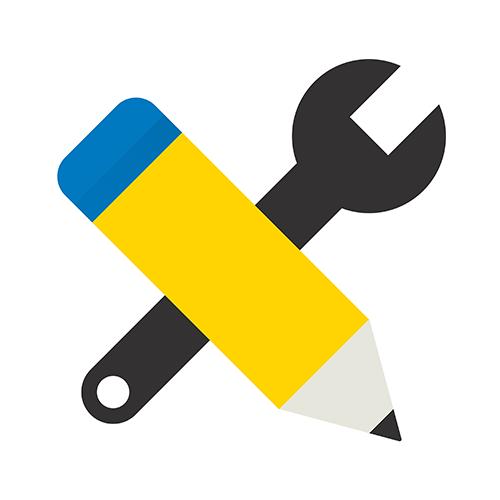 Ikoni, johon on piirretty kynä ja ruuvimeisseli kuvaamaan kouluttautumista ja ammattin hankkimista.