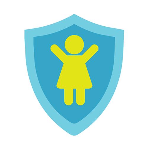 Suojelua kuvaava ikoni, jossa on tytön piirros.