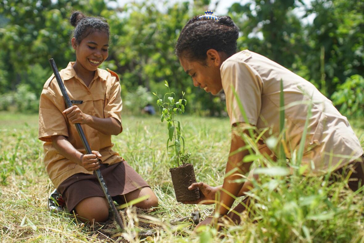 Kaksi tyttöä istuttaa puuta Indonesiassa.